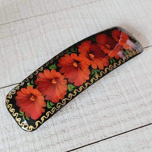 New Hand painted Red Floral Russian Hair Clip